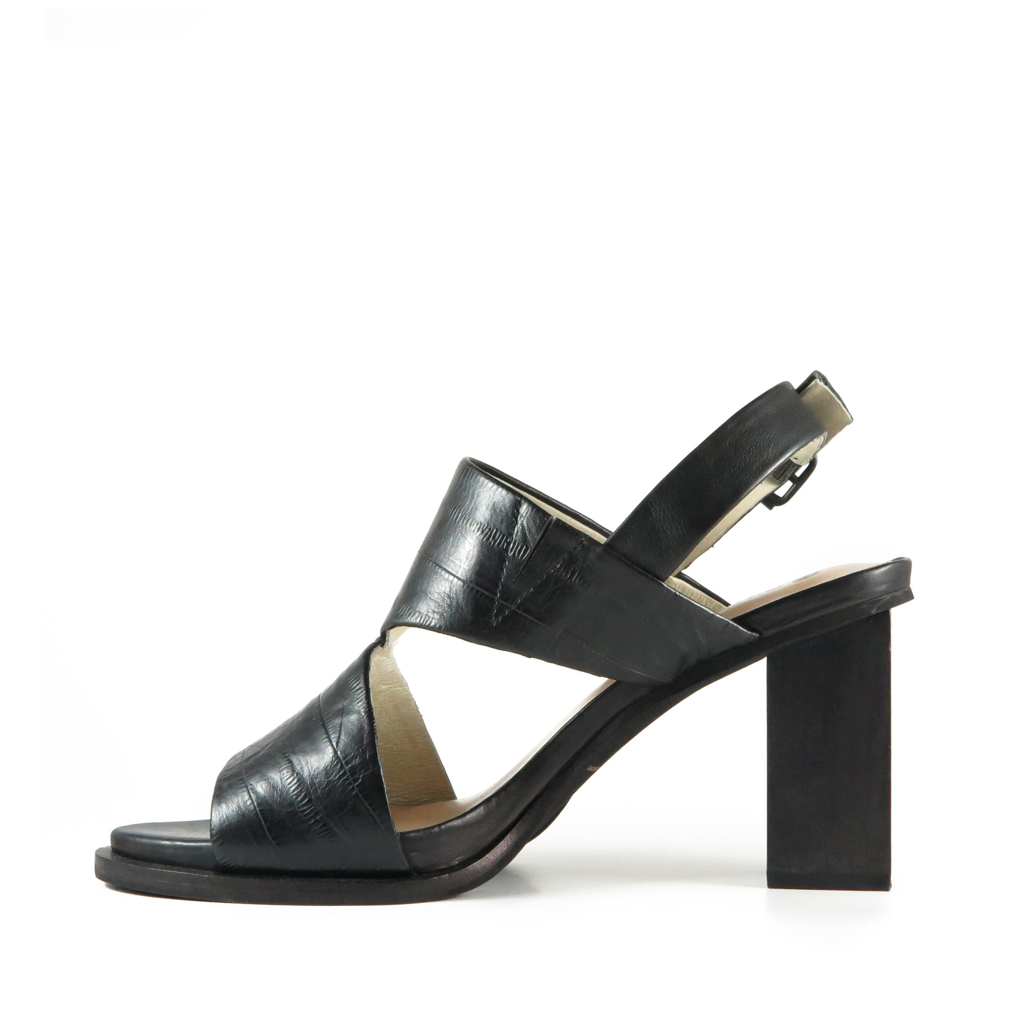 Passion, black embossed leather, Chaos & Harmony, comfortable high heel sandals, New Zealand fashion