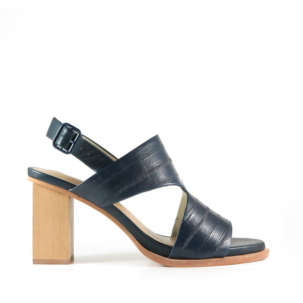 Passion, navy leather, Chaos & Harmony, comfortable high heel sandals, New Zealand fashion