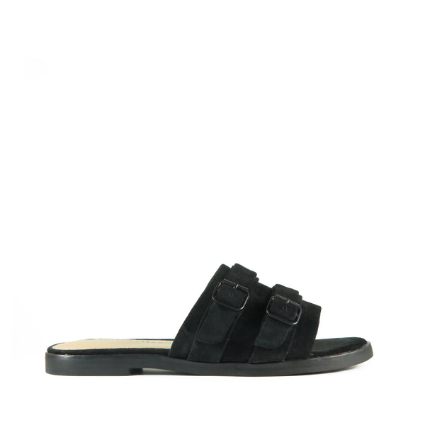 Path, black suede slides, buckles, Chaos & Harmony, Shibusa, New Zealand fashion