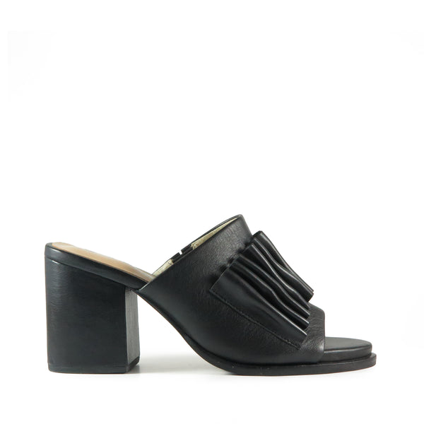Serene, Chaos & Harmony, black leather mule, high heel, slide, shibusa, folded leather, New Zealand fashion