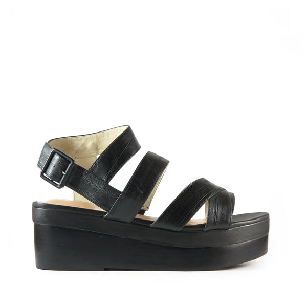 Timeless, black embossed leather platform sandal, Chaos & Harmony, Shibusa