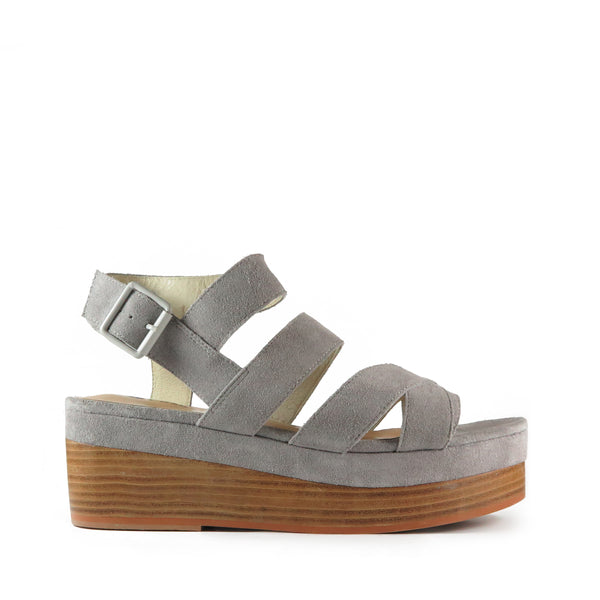 Timeless, grey suede leather platform sandal, wooden stack heel, Chaos & Harmony, New Zealand fashion, Shibusa