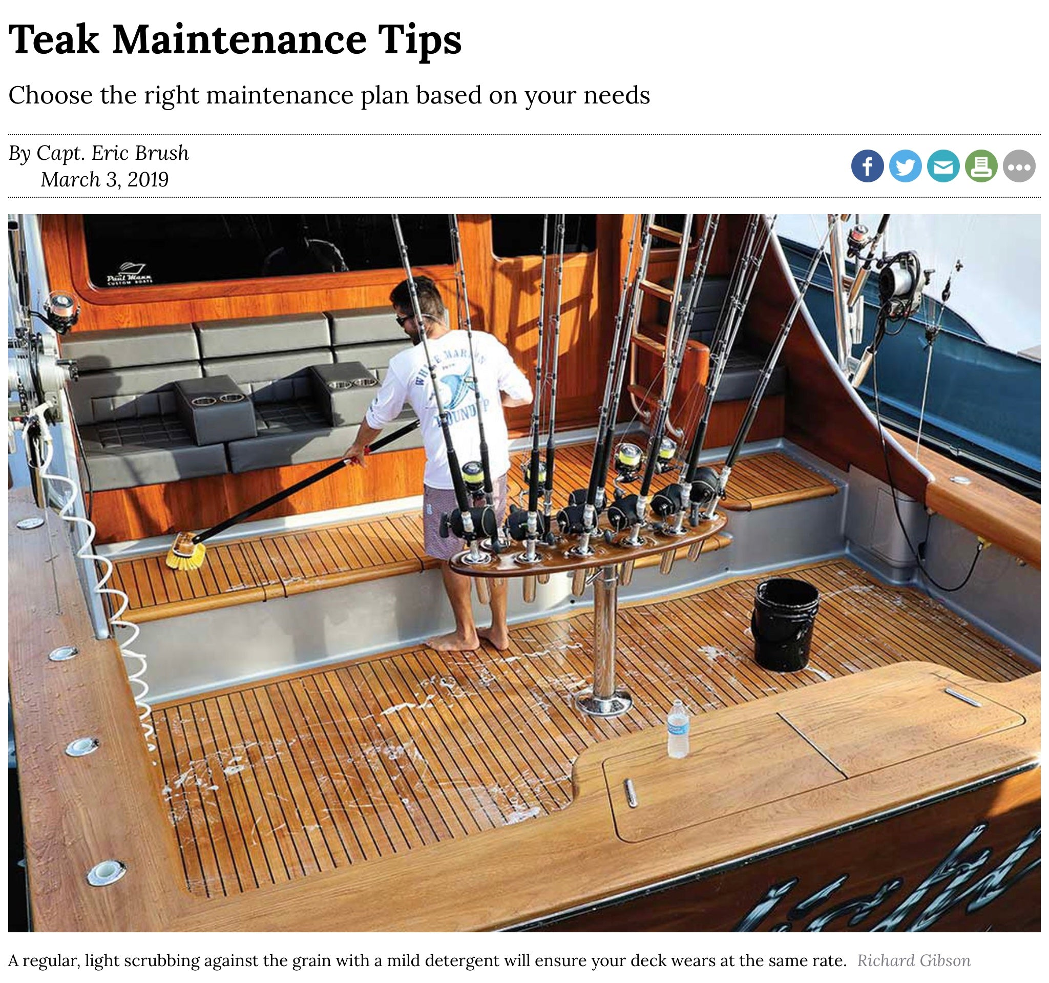Maintaining teak on a sportfish boat