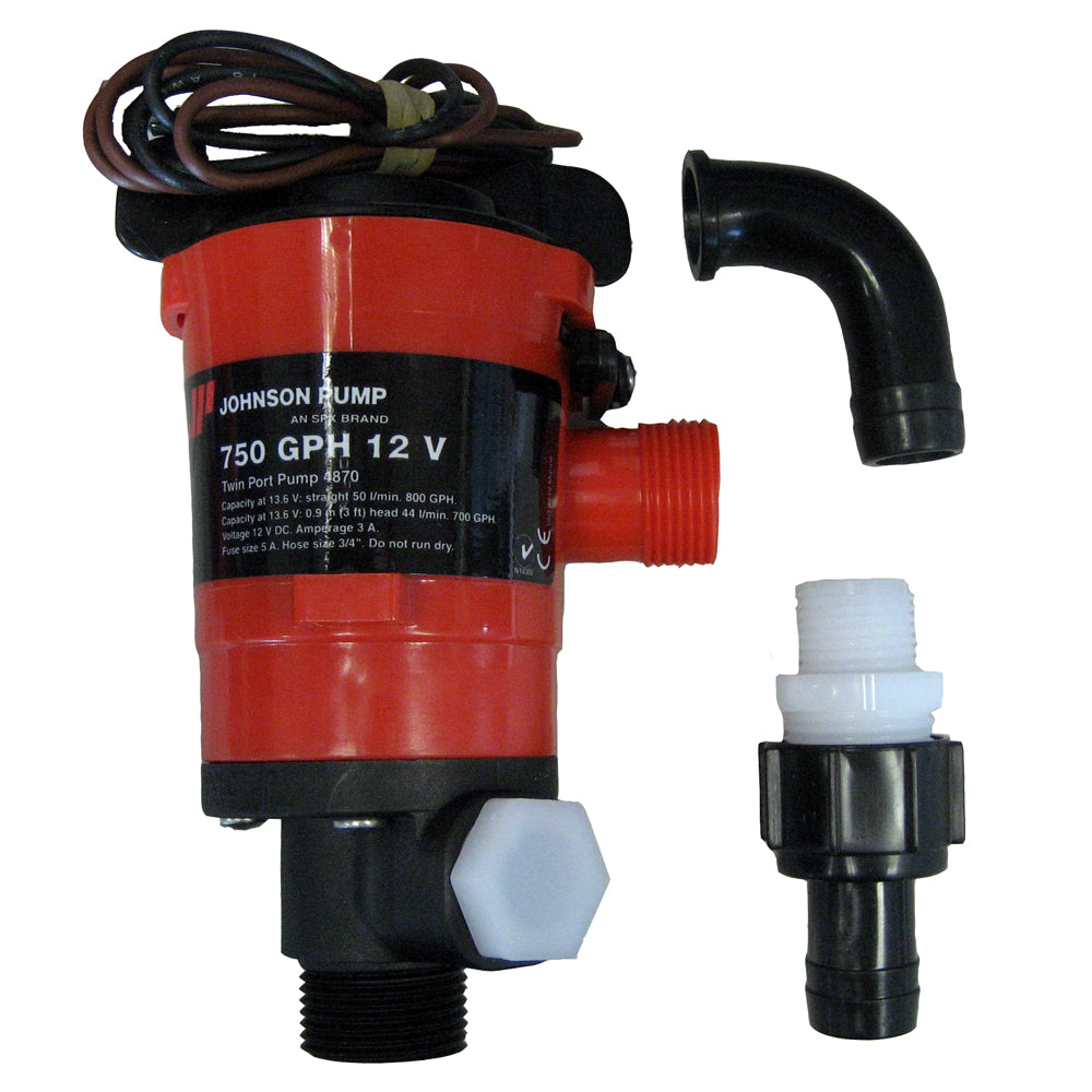 Johnson Pump Twin Port 750 GPH Livewell Aerating Pump - 12V [48703]