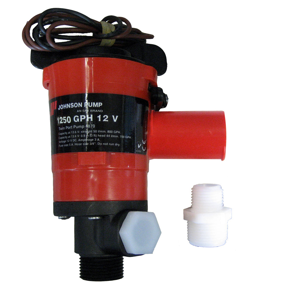 Johnson Pump Twin Port 1250 GPH Livewell Aerating Pump - 12V [48103]