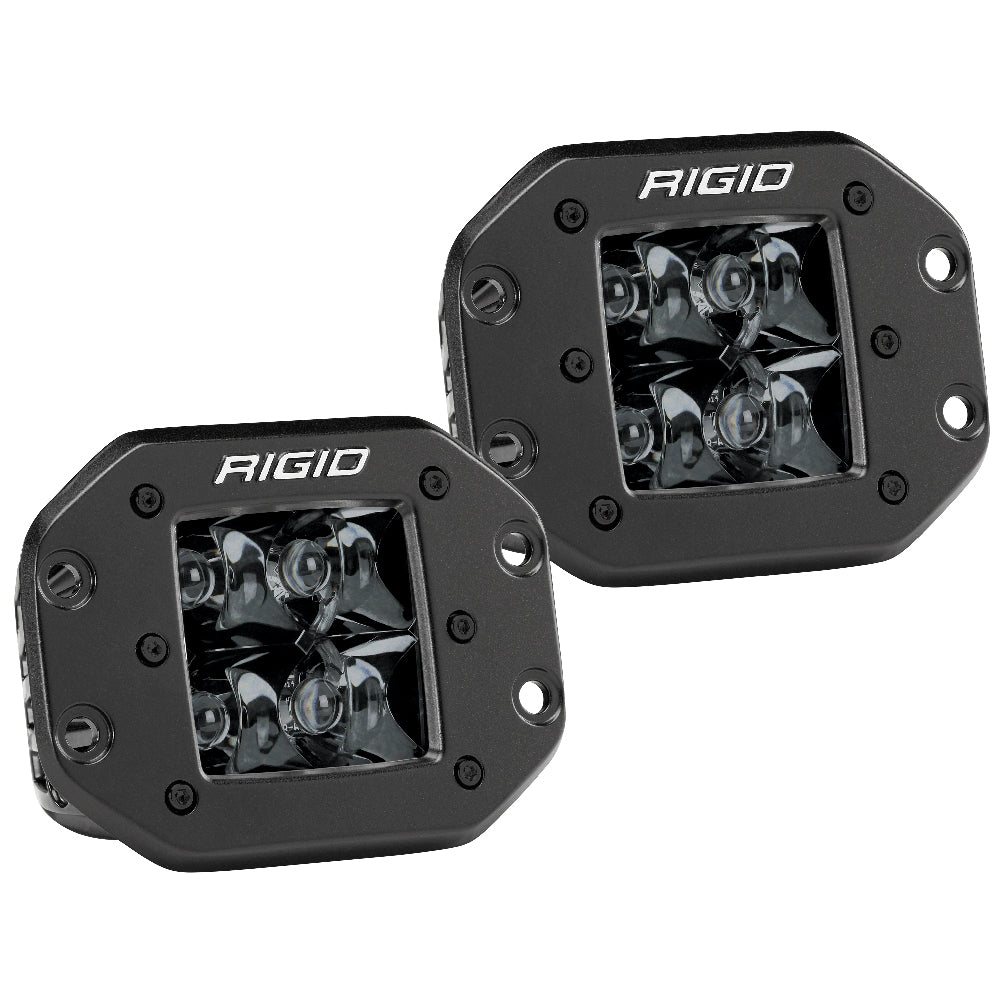 RIGID Industries D-Series PRO Flush Mount - Spot LED - Midnight Edition - Pair - Black [212213BLK]