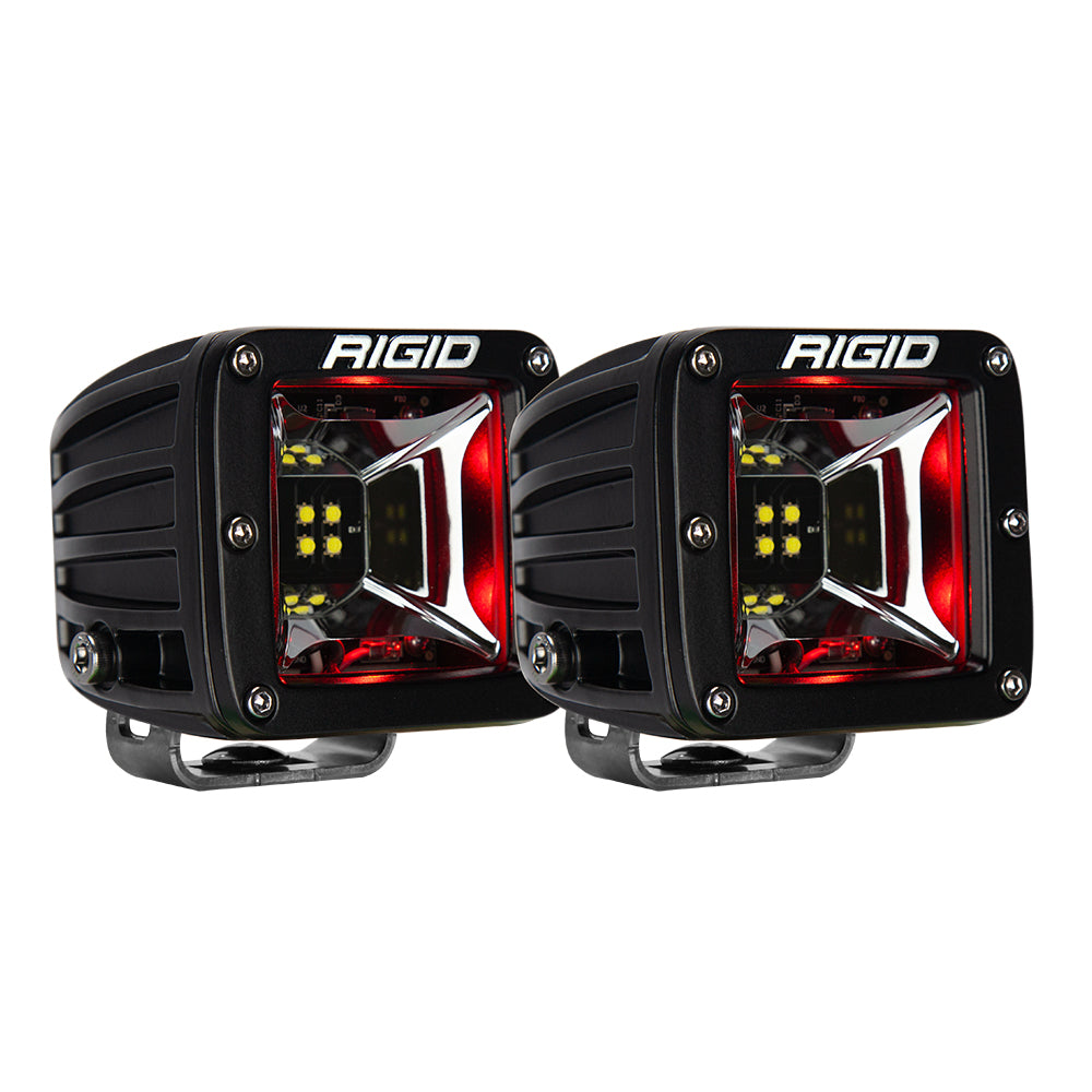 RIGID Industries Radiance Scene Lights - Surface Mount Pair - Black w/Red LED Backlight [68202]