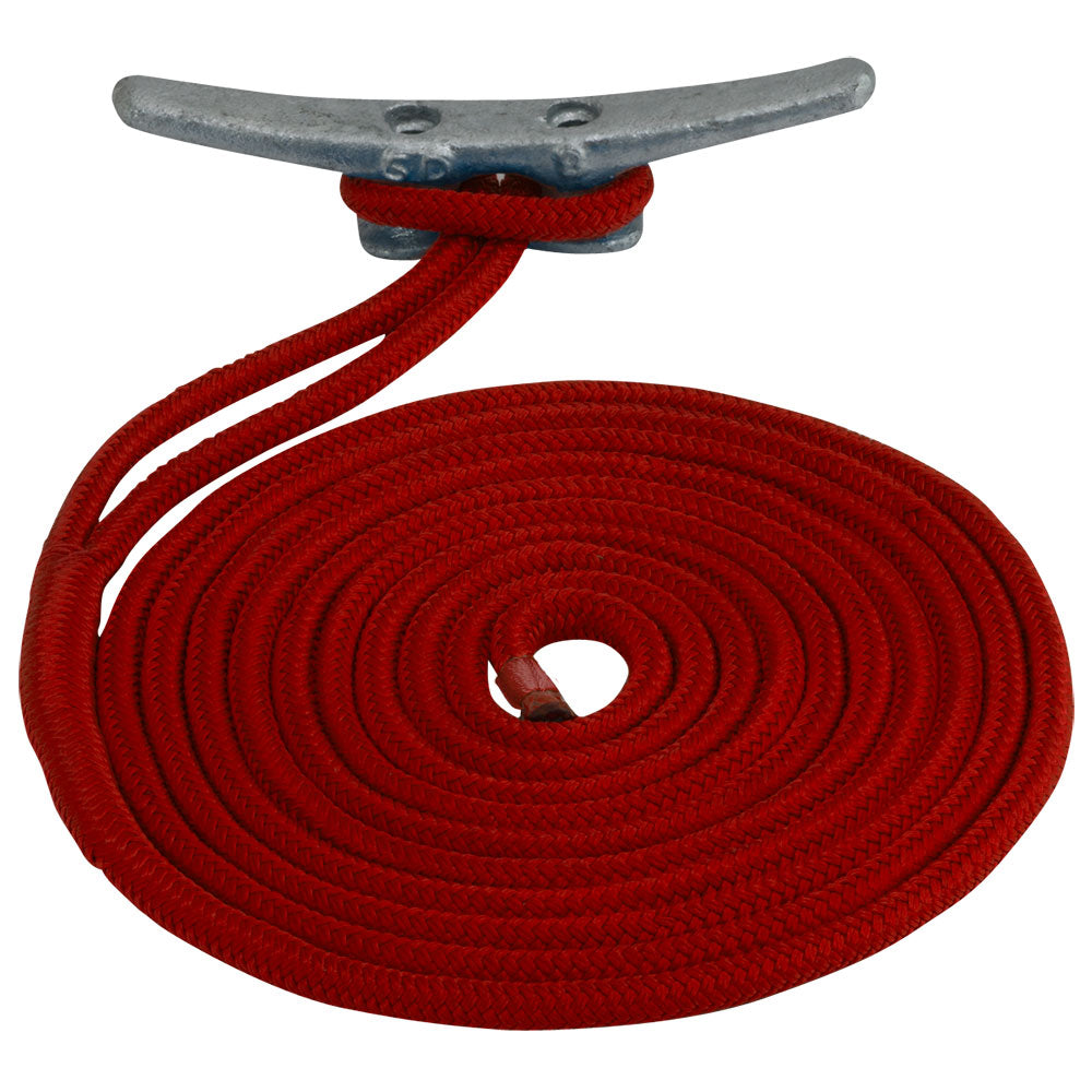 "Sea-Dog Double Braided Nylon Dock Line - 3-8"" x 15 - Red [30211015RD-1]"
