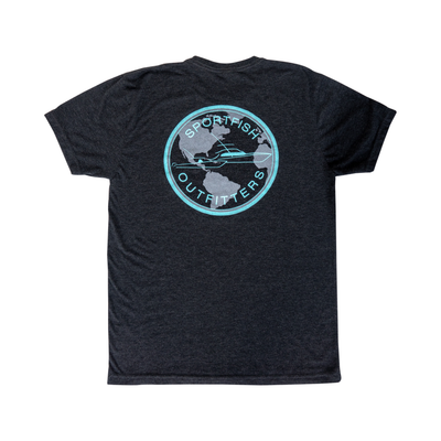Sportfish Outfitters Super Soft Mens Charcoal Globe T Shirt