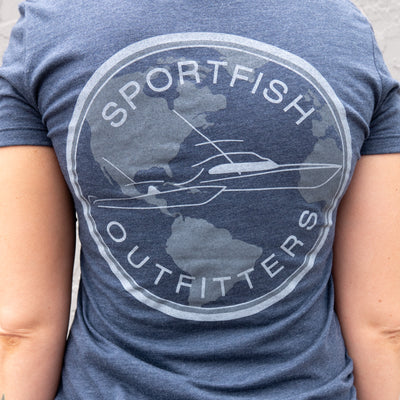 Sportfish Outfitters Super Soft Women's Marlin Blue with Globe T Shirt