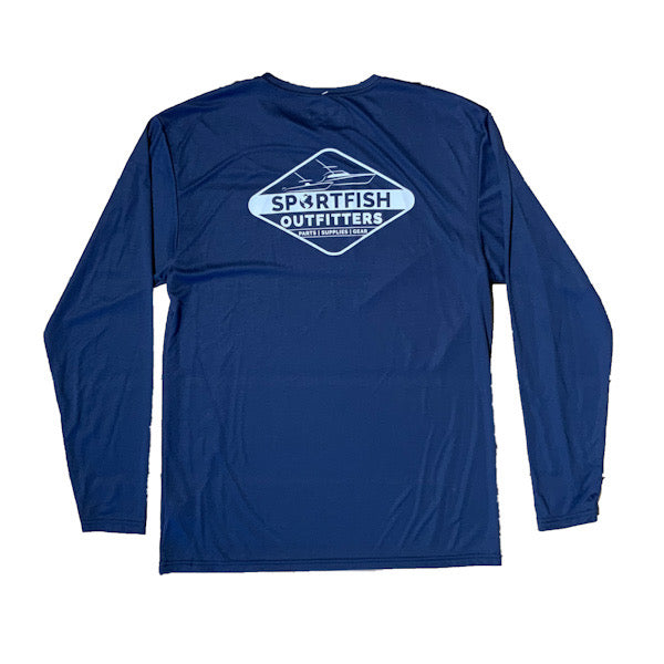 Sportfish Outfitters Mens Long Sleeve Diamond Performance Shirt - Navy