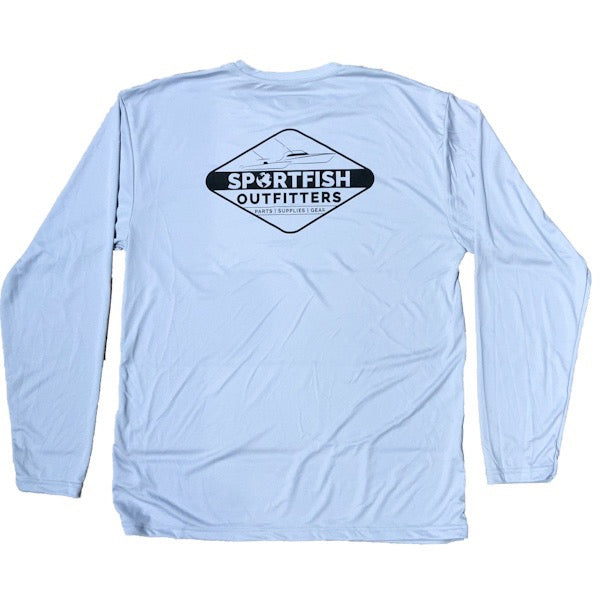 Sportfish Outfitters Mens Long Sleeve Diamond Performance Shirt - Silver
