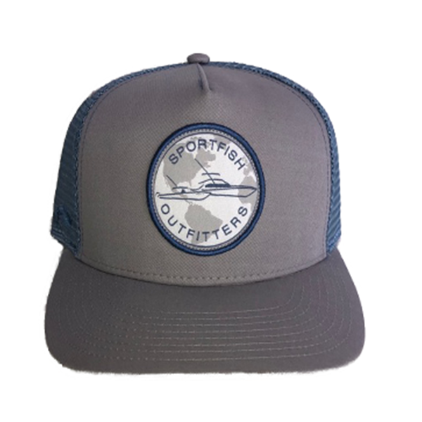 Sportfish Outfitters Globe Light Gray / Light Blue Curved Hat