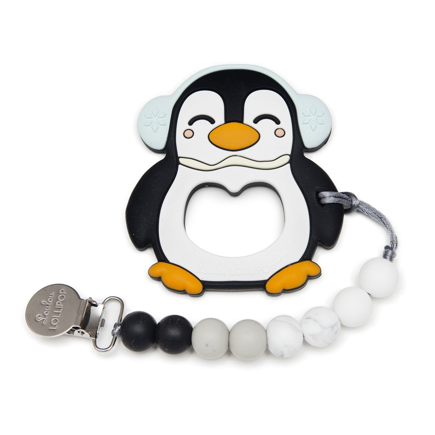 Loulou Lollipop Black Penguin Silicone Teether