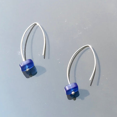 Sterling Silver Blue Cobalt Earrings