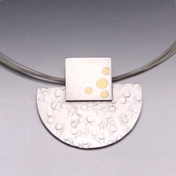 Keum Boo Silver and Fine Silver Eclipse Necklace