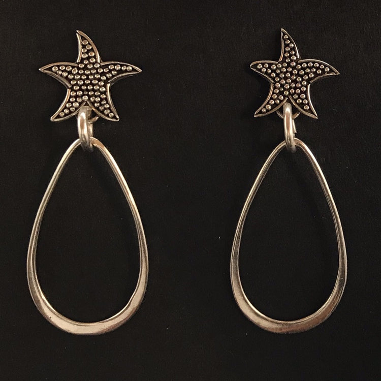Silver Starfish Tear Drop earrings