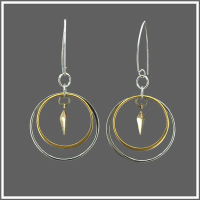 silver and 24k gold plate round and triangular earrings