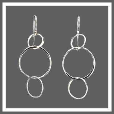 Sterling Silver 3 Circle Earrings