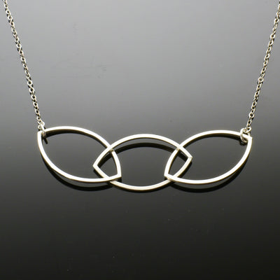 Argentium Silver 3 Marquise Link Square Wire Necklace