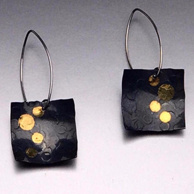 Keum Boo Square Drop Moonlight Earrings by Marye Brenda