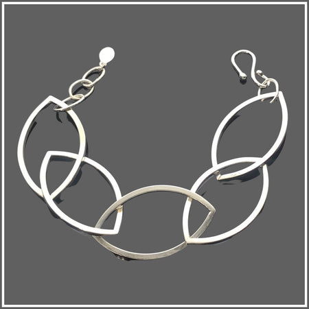 Argentium Silver Marquise Square Link Bracelet by Marye Brenda