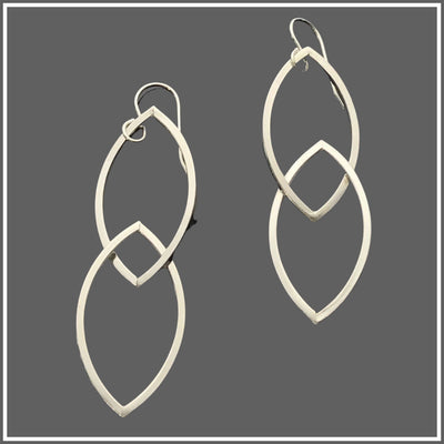 Argentium Silver Double Marquise Earrings by Marye Brenda