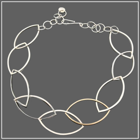 Argentium Silver Marquise Link Necklace with NuGold