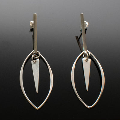 Sterling Silver Marquise Triangle Bar Earrings