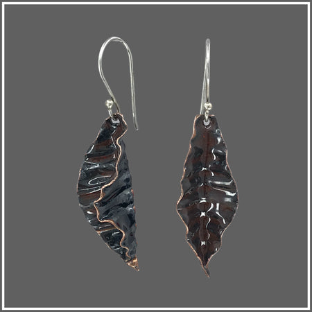 Copper Corrugated Brown enameled earrings by Marye Brenda