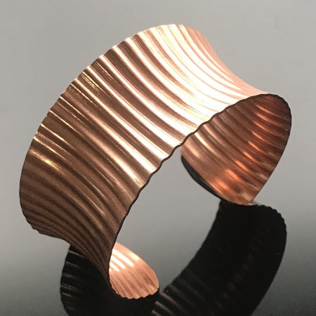 Copper Anticlastic Corrugated Cuff