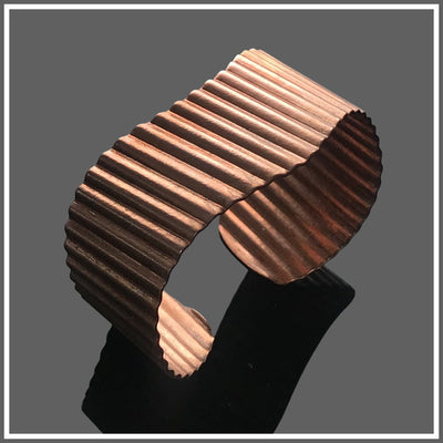 Copper corrugated wave cuff by Marye Brenda