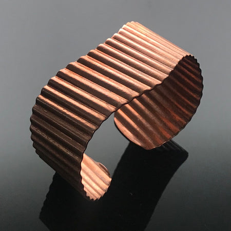 Copper Corrugated Wave Cuff