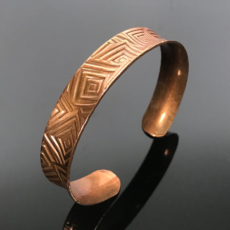 Copper Anticlastic Geometric Slim Cuff