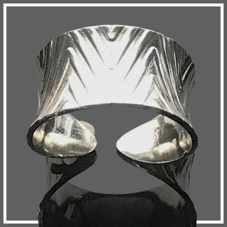 Sterling Silver Anticlastic Cuff Ring - Diamond Design