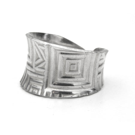 Silver Cuff Ring - Anticlastic Geometric Design, Rings, Marye Brenda Jewelry Designs