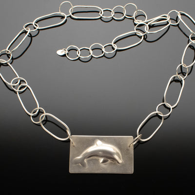 Argentium Silver Dolphin Necklace