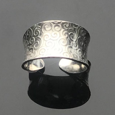 Sterling Silver Anticlastic Cuff Rings-Swirl