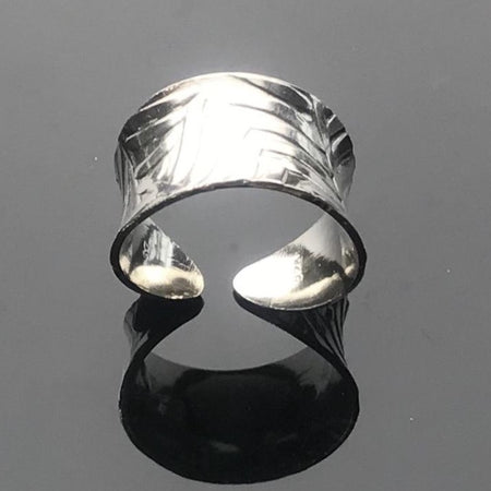 Sterling Silver Anticlastic Cuff Ring - Feather