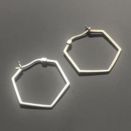 Sterling Silver Hexagon Earrings