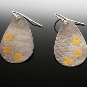 Keum Boo Fine Silver Tear Drop Earrings with 24k gold