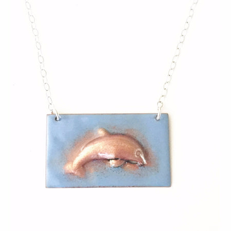 Enameled Dolphin Necklace, Necklace, Marye Brenda Jewelry Designs