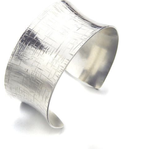 Silver Cuff Bracelet - Anticlastic Linen Design - Marye Brenda Jewelry Designs