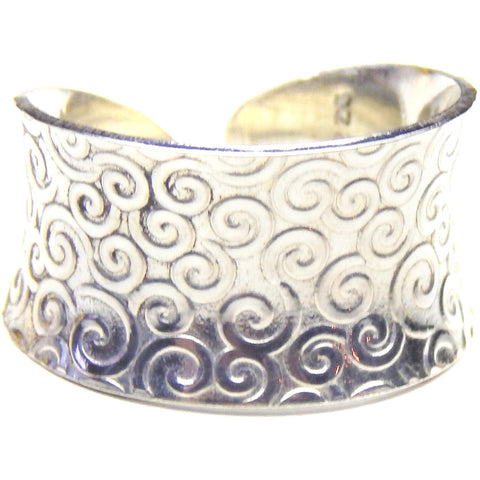 Silver Cuff Ring - Anticlastic Swirl Design, Rings, Marye Brenda Jewelry Designs