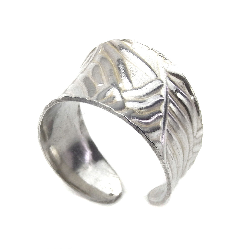 Silver Cuff Ring - Anticlastic Feather Design - Marye Brenda Jewelry Designs