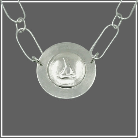 Argentium Silver Sailboat Oval Chain Necklace by Marye Brenda