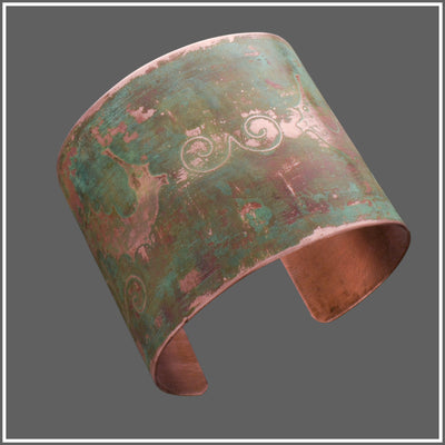 Copper Etched Seahorse Cuff by Marye Brenda