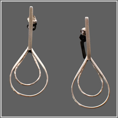 Silver Bar Earrings with Double Teardrop Earrings by Marye Brenda