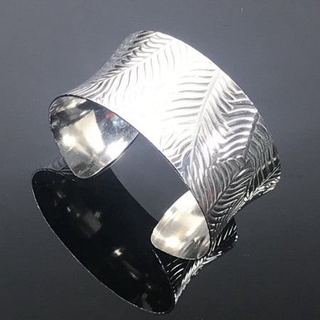 Sterling Silver Anticlastic Cuff Bracelet - Feather