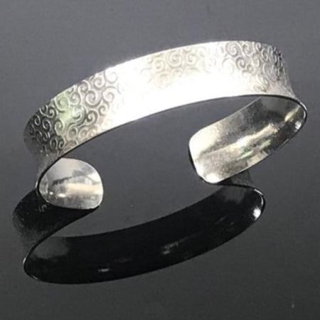 Sterling Silver Anticlastic Cuff Bracelet Small - Swirl